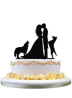 236x321 Custom Wedding Cake Topper With Two Dog, Bride And Groom