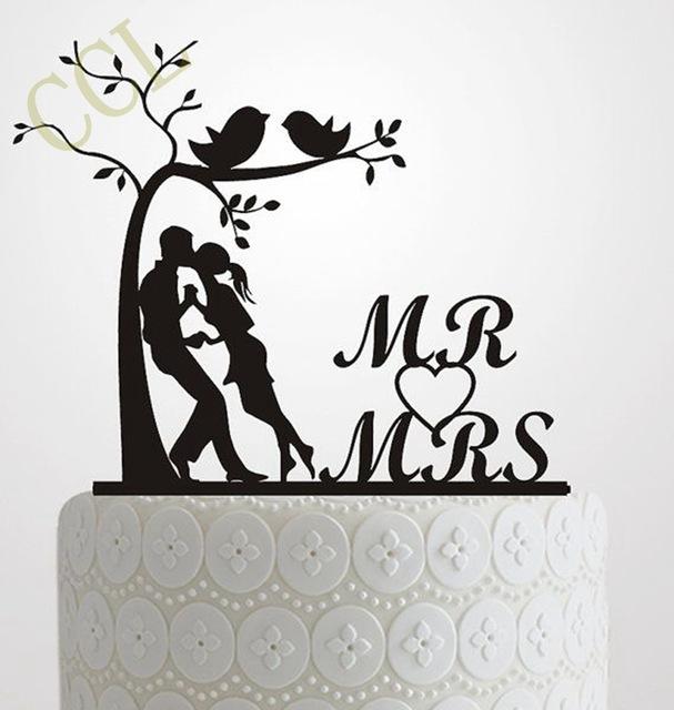 607x640 Wedding Cake Topper Silhouette Bride Groom , Elegant