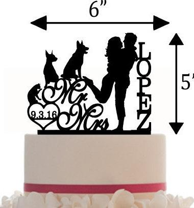 380x407 Wedding Customized Cake Topper Mr And Mrs Silhouette With Pets