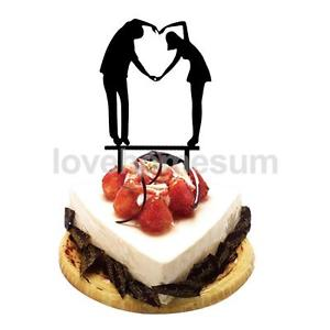 300x300 Acrylic Wedding Anniversary Love Posture Silhouette Wedding Cake