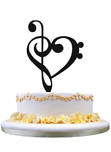 430x587 Hearts Cake Topper Music Note Silhouette Wedding Cake