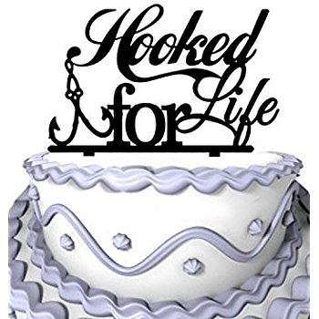 350x350 Wedding Cake Topper Fishing Couple In Boat Kissing Mr