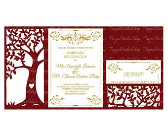 340x270 Laser Cut Wedding Invitation Template Filigree Svg Dxf Cdr