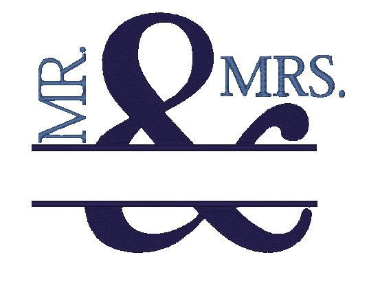 553x419 Mr Amp Mrs Wedding Embroidery Design