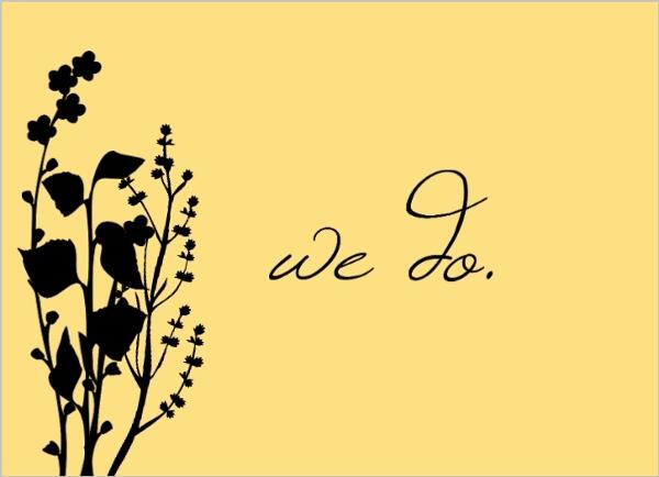 600x434 Marigold And Black Floral Silhouette Wedding Invite Wedding