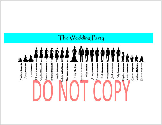 570x441 Items Similar To Instant Download Large Wedding Party Silhouette