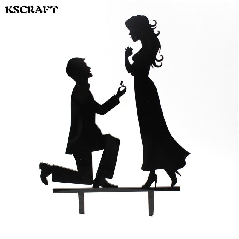 800x800 Kscraft Propose Marriage Cake Topper Acrylic Silhouette Wedding