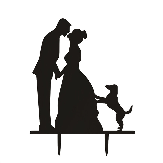 640x640 Wedding Cake Topper Couple With Dog Silhouette Cake Topper Party