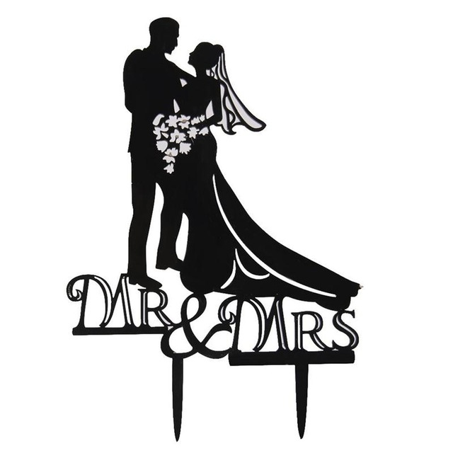 640x640 Acrylic Romantic Wedding Cake Toppers Bride And Groom Silhouette