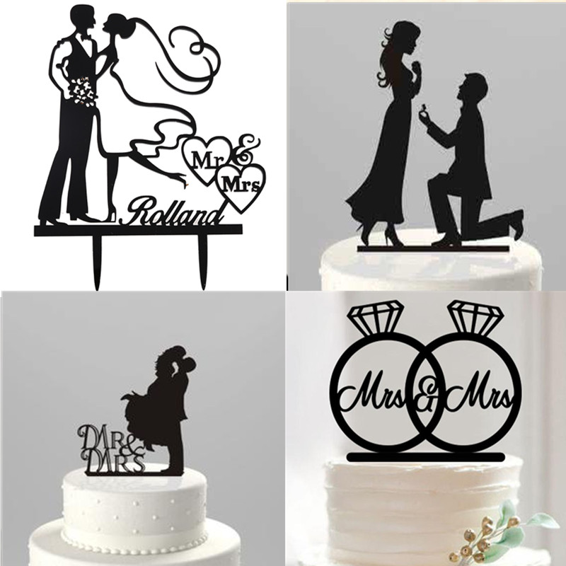 800x800 Cake Topper Silhouette Acrylic Black Romantic Mr Mrs Bride Groom