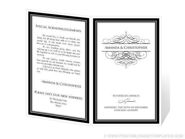 Silhouette Wedding Program Templates