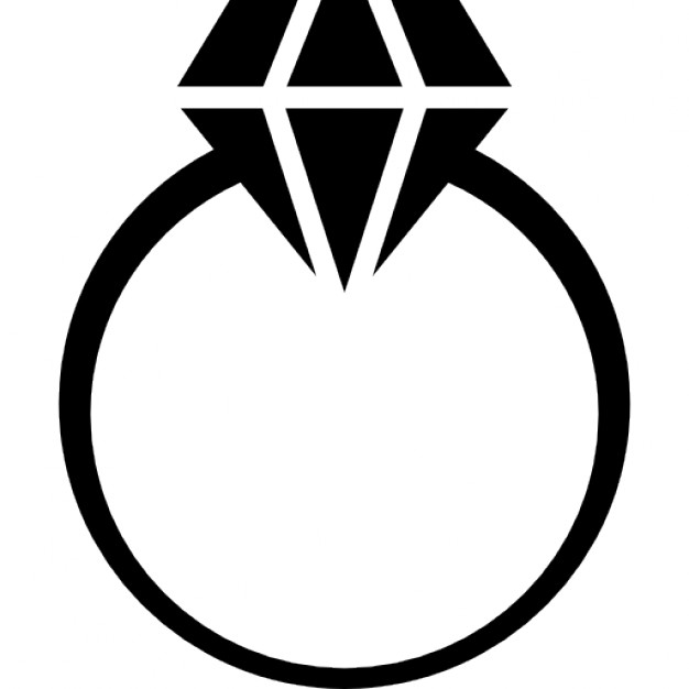 626x626 Diamond Ring Silhouette Free Engagement Ring Clipart Image 17192
