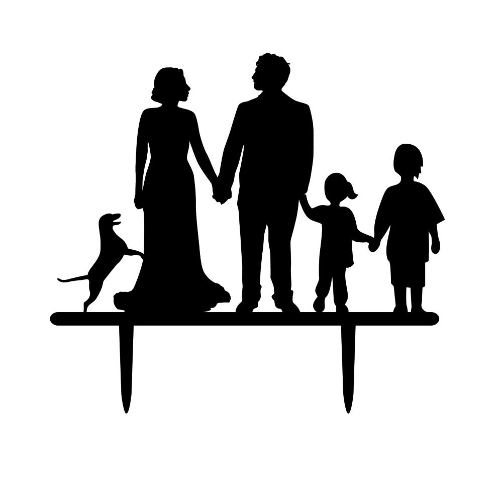 1001x1001 Family Member Silhouette Cake Topper, Two Kids With Dog And Couple