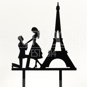 300x300 Paris Engagement Proposal Bride Amp Groom Wedding Day Cake Topper
