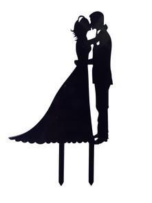 221x295 Unik Occasions Bridal Couple Silhouette Acrylic Cake Topper