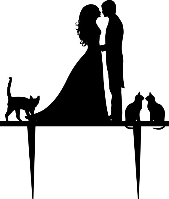 570x673 Wedding Cake Topper Silhouette Groom And Bride, Acrylic Cake