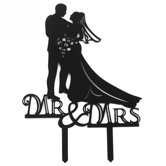 640x640 Black Romantic Cake Topper Kissing Couple Bride And Groom Mr