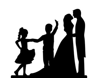 340x270 Dancing Bride And Groom Silhouette Wedding Cake Topper