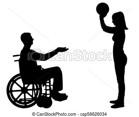 450x379 Vector Silhouette Of A Disabled Man In A Wheelchair And His