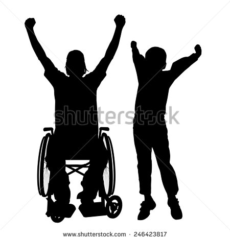 450x470 Vector Silhouettes Man Who Is In A Wheelchair With A Son. Design