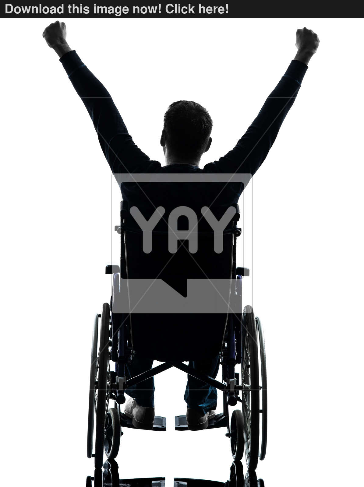 1195x1600 Rear View Handicapped Man Arms Raised In Wheelchair Silhouette