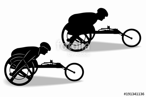 500x334 Silhouette Of An Invalid Athlete On A Wheelchair, Vector Drawing