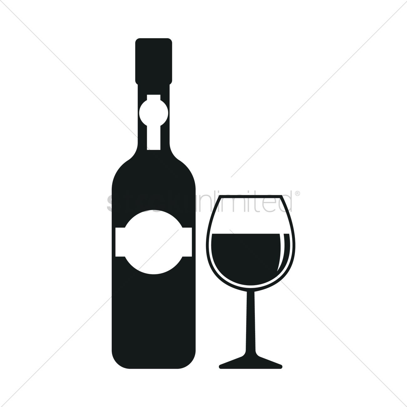 1300x1300 Wine Bottle And Cup Silhouette Vector Image