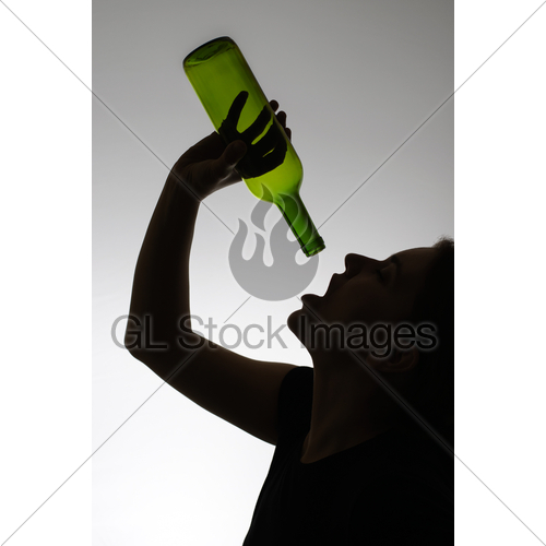 500x500 Silhouette Of An Alcoholic Woman With A Bottle Gl Stock Images