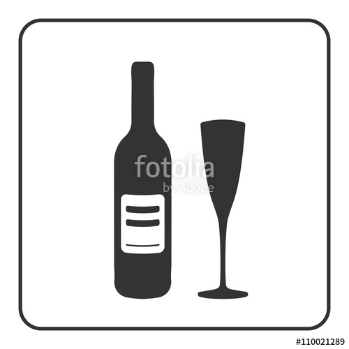 500x500 Alcohol Icon. Bottle Wine Sign. Black Silhouette Isolated On White