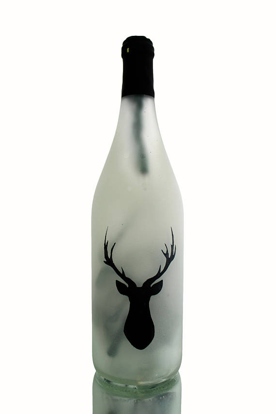 570x855 Stag Silhouette Lighted Wine Bottle Wine Bottle Lamp Wine