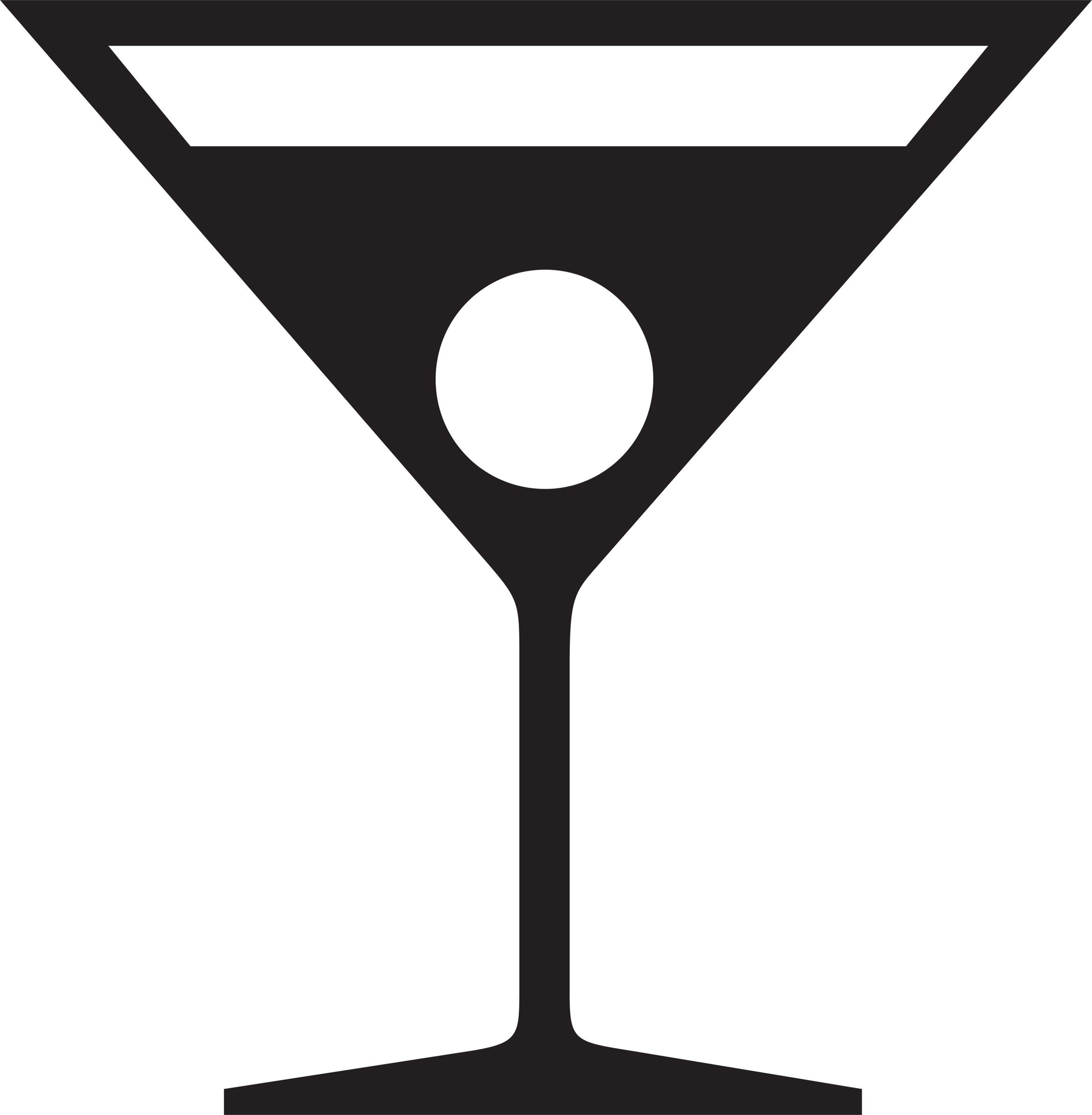 2351x2400 Martini Glass Silhouette Clip Art