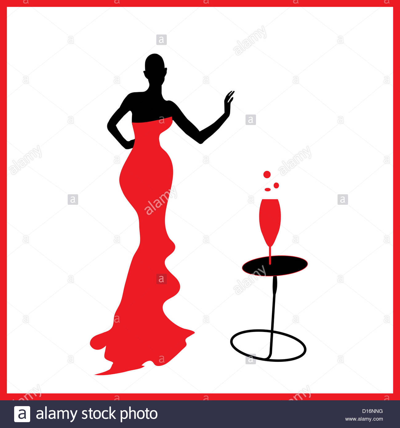 1300x1390 Abstraction Woman Silhouette Black And Red Glass Stock Photo