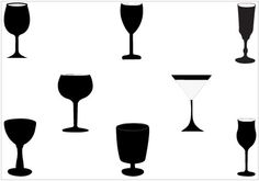236x165 Wineglass Silhouette Vector Graphics Pack