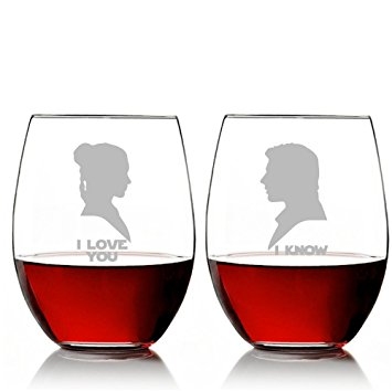 355x355 I Love You And I Know Silhouette Star Wars Stemless 15 Oz Wine