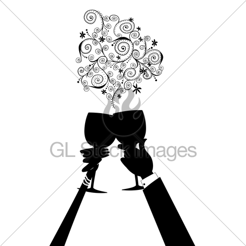 500x500 Man And Woman Holding Wine Glasses In A Toast Gl Stock Images