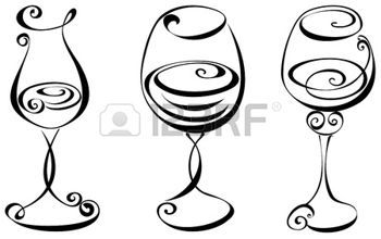 350x220 Stylized Black And White Wine Glass Photo Fire Pit Silhouette