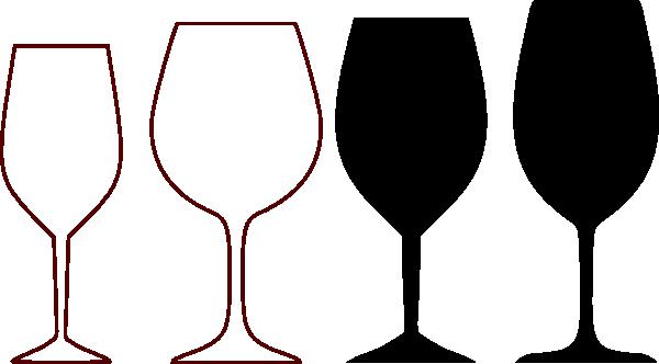 600x332 Wine Glasses Silhouette Clip Art