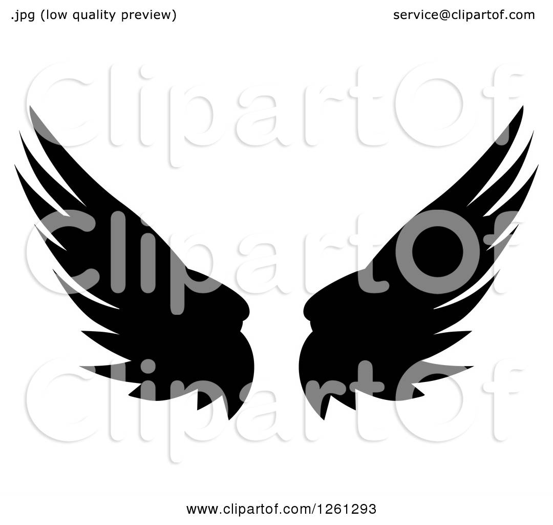 1080x1024 Clipart Of Black Silhouetted Feathered Wings