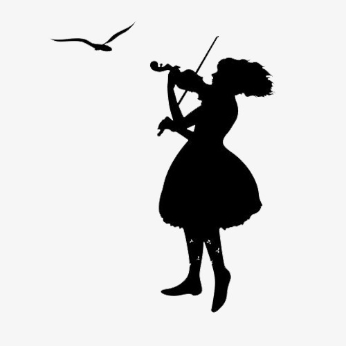500x500 The Girl Playing The Violin Silhouette, Play The Violin, Seagull