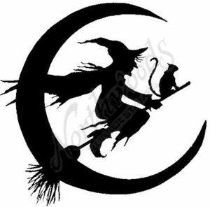 300x296 Pp6167 Silhouette Witch, Cat And Moon