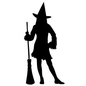 300x300 Silhouette Design Store Standing Witch Silhouette Svg Halloween