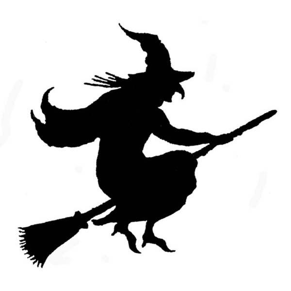 600x600 Silhouette Witch Rubber Stamp