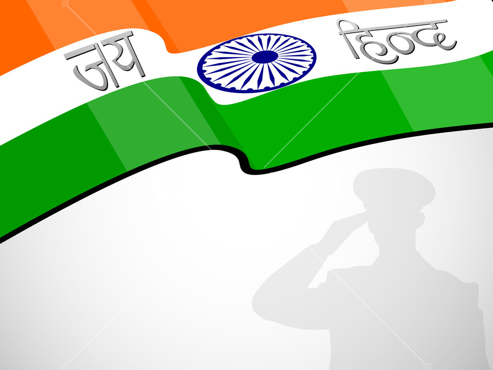 1000x750 Abstract Indian Flag Background With Silhouette Of Running Soldier