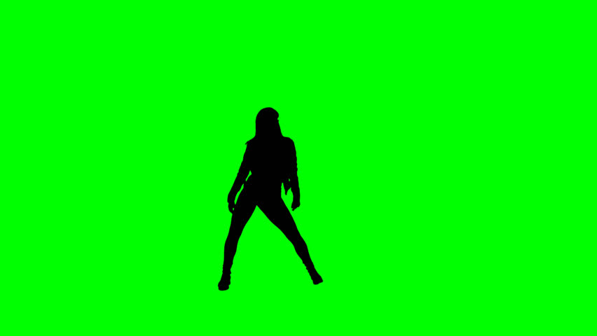 852x480 Female Hip Hop Dancer Silhouette Dancing Against A Chroma Key