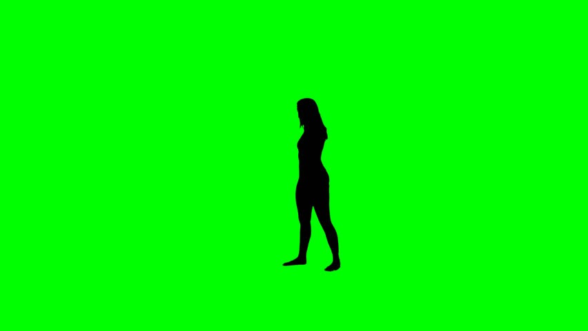 852x480 Female Hip Hop Dancer Silhouette On A Chroma Key Green Background