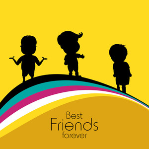300x300 Friendship Day Concept With Silhouette Of Two Friends On Beautiful