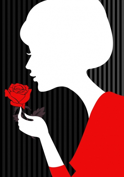 421x600 Lady And Rose Background White Silhouette Design Free Vector