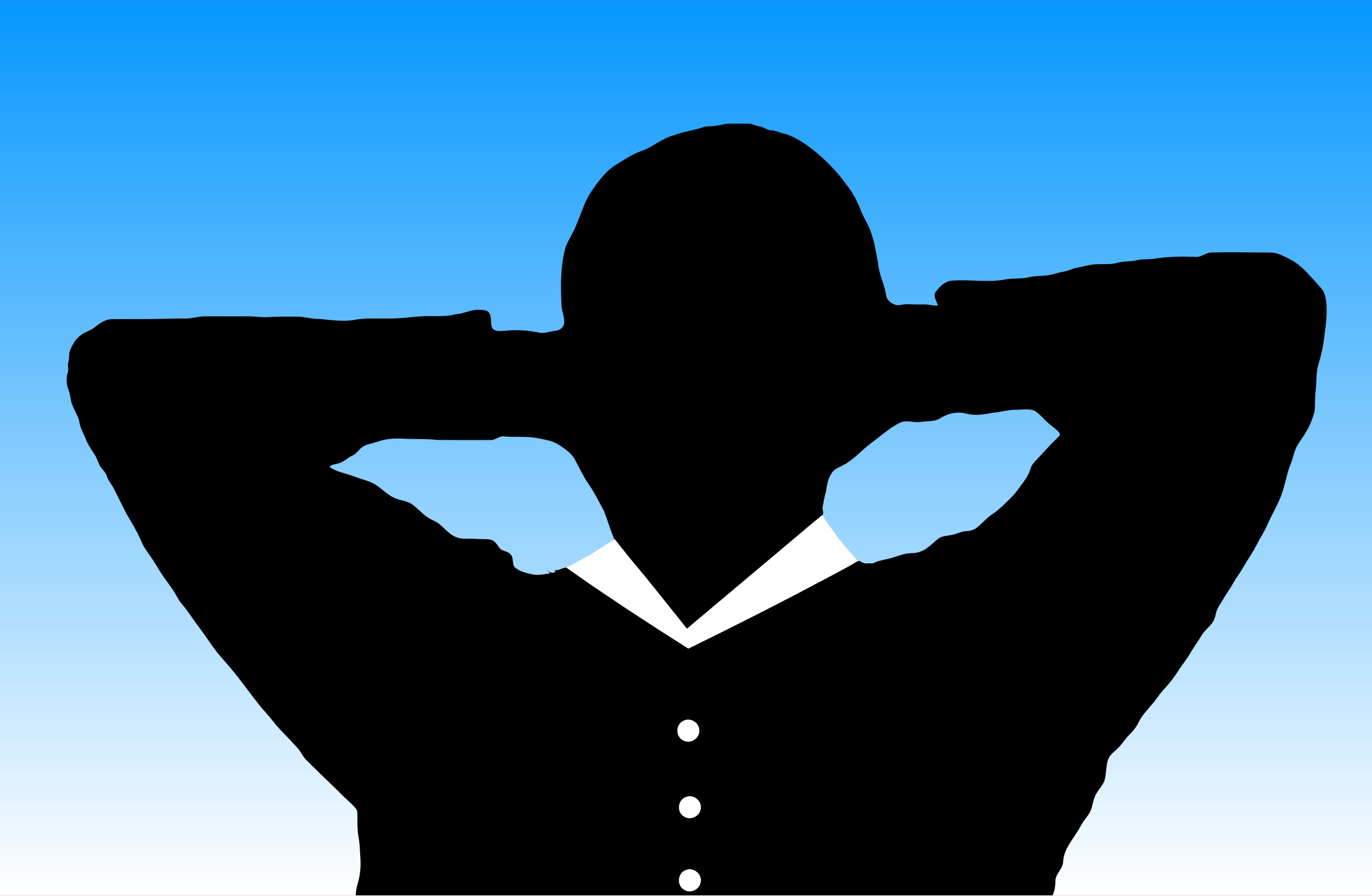 2400x1567 Man Relaxing With Hands Behind Head Silhouette With Background
