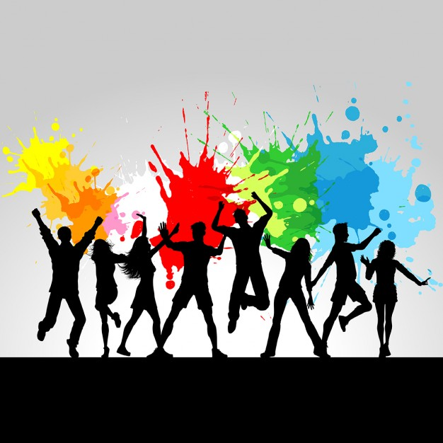 626x626 Paint Splashes Background With Silhouettes Vector Free Download
