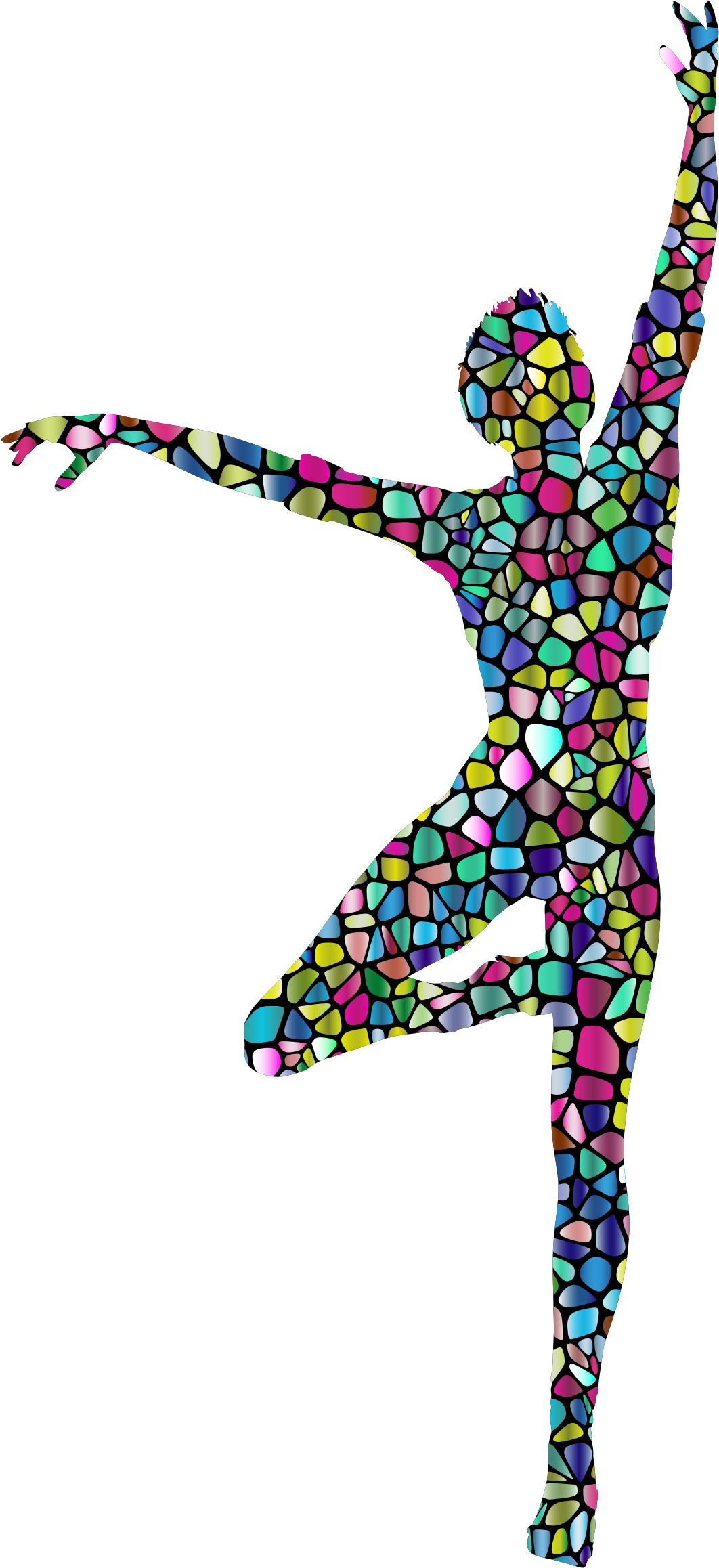 1062x2316 Polyprismatic Tiled Dancing Woman Silhouette With Background Icons